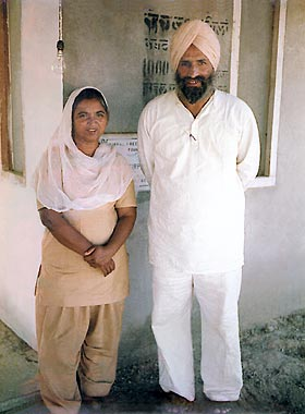 Dr Harbhajan Singh with his wife Biji Surinder Kaur, Nag Kalan near Amritsar