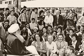 Sant Kirpal Singh at an airport in South America, 1972